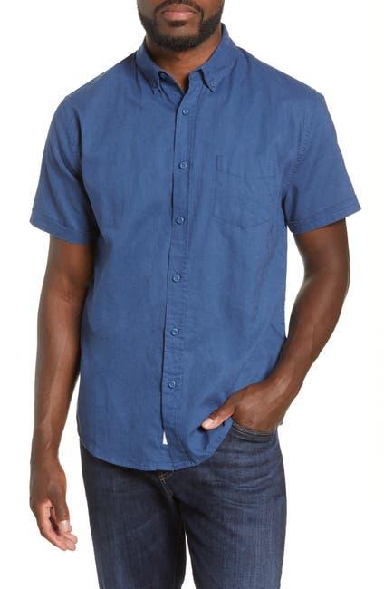 Image of Onia Jack Short Sleeve Button-Down Linen Blend Shirt