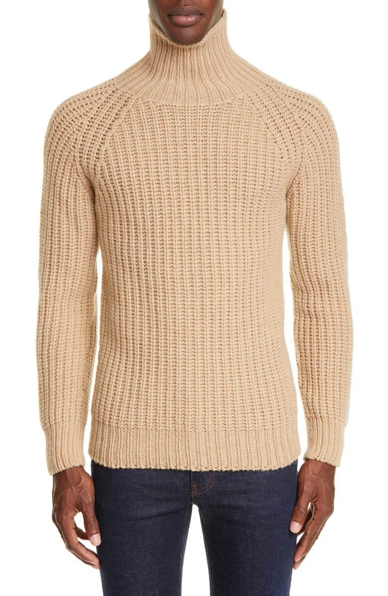 OFFICINE GÉNÉRALE Turtleneck Sweater, Main, color, CAMEL
