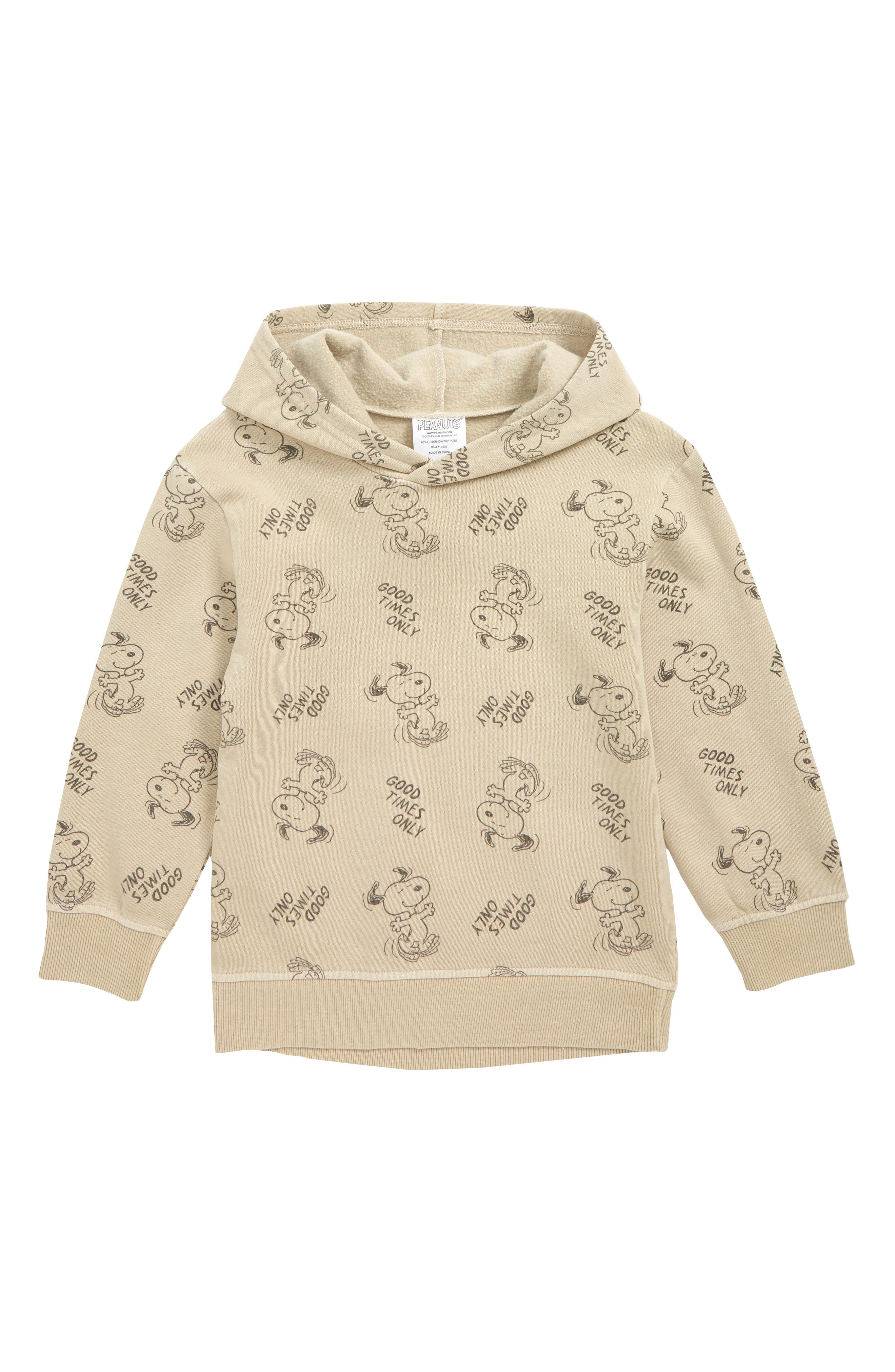 Toddler Boys Jem Snoopy Print Hooded Sweatshirt Size 3T  Brown