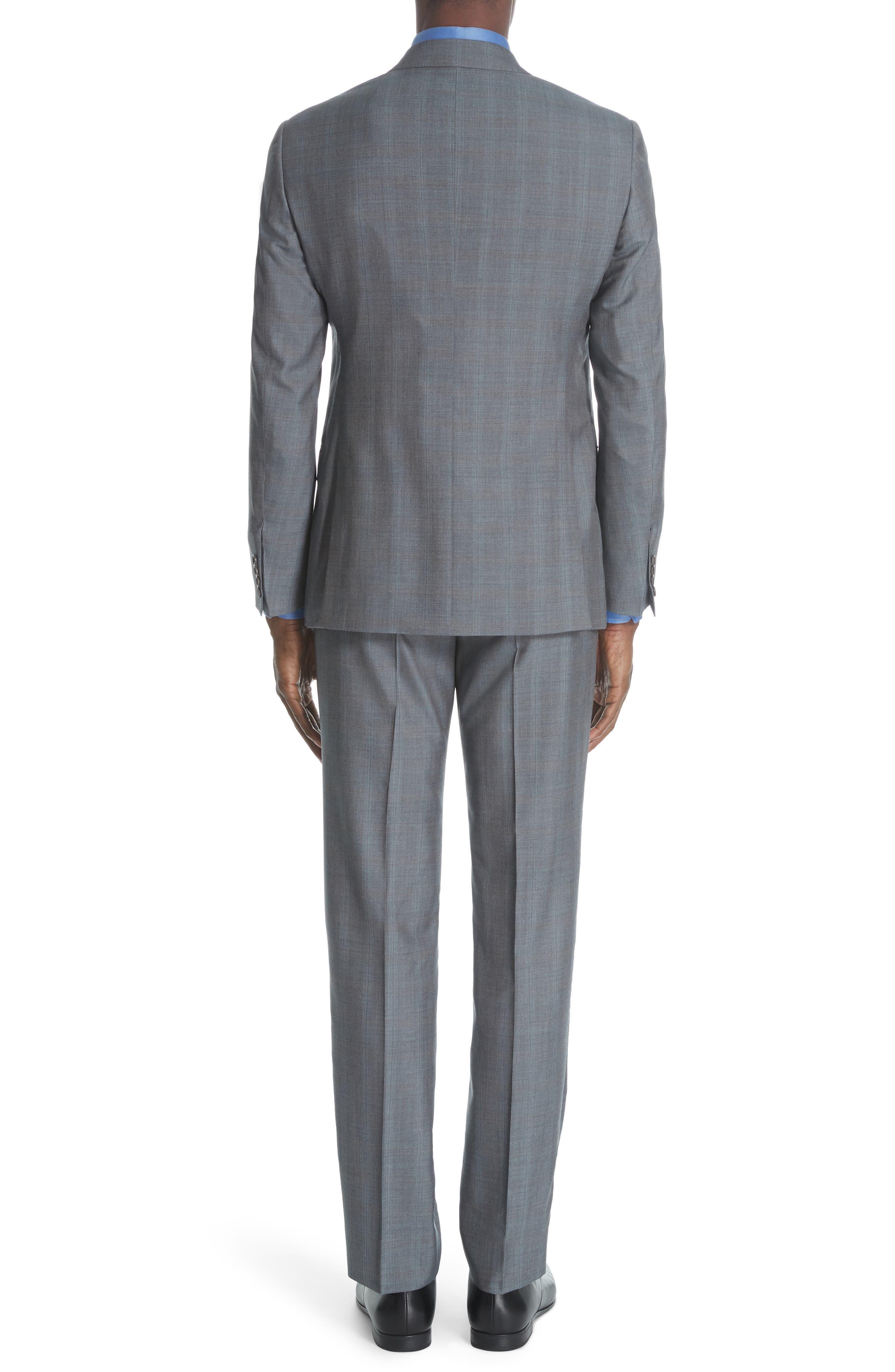,                             Classic Fit Plaid Wool & Silk Suit,                             Alternate thumbnail 2, color,                             GREY