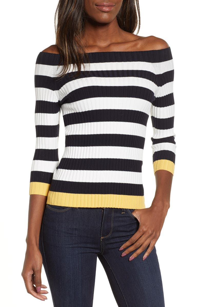 BAILEY 44 Salty Dog Off the Shoulder Sweater, Main, color, 001