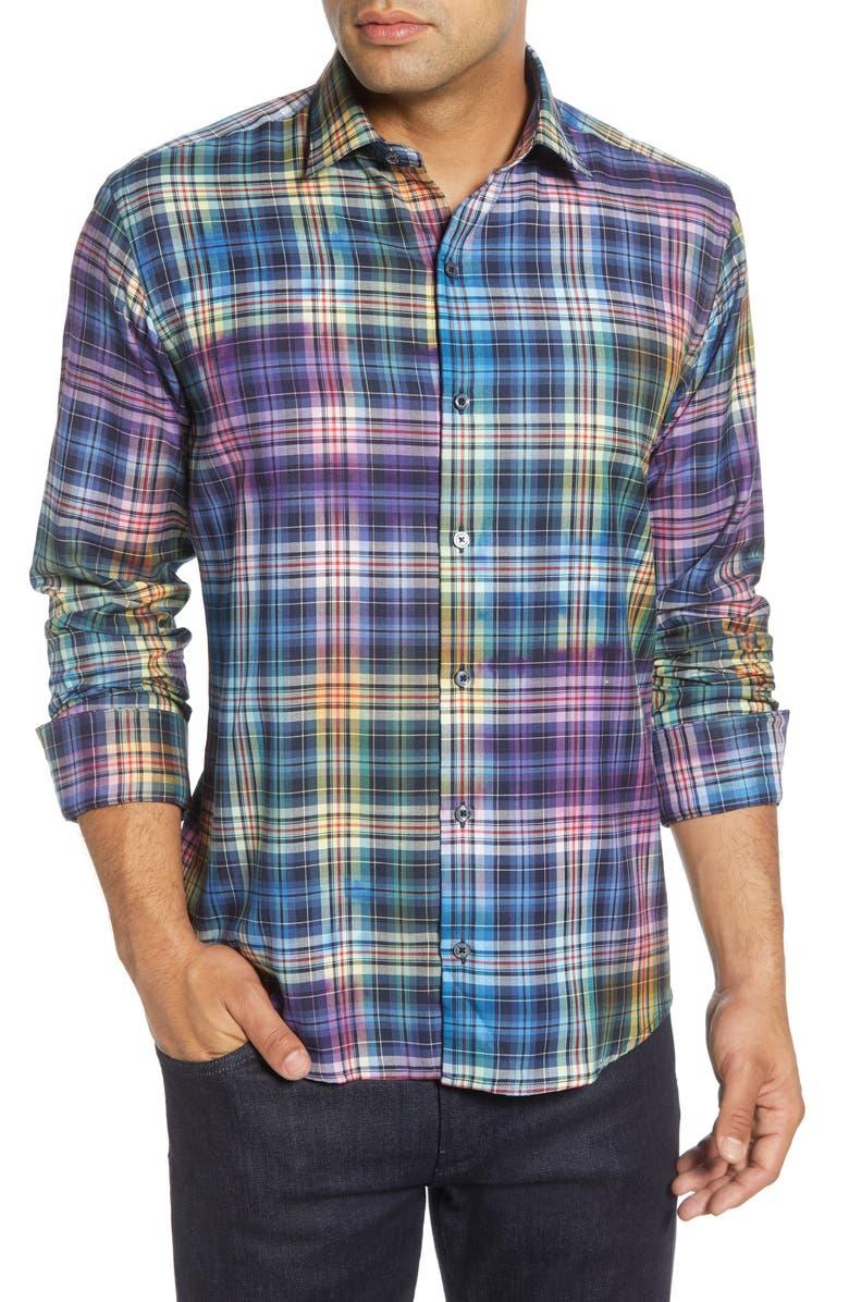BUGATCHI Shaped Fit Plaid Button-Up Sport Shirt, Main, color, CLASSIC BLUE