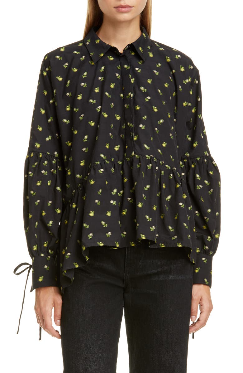 CECILIE BAHNSEN Andrea Floral Cotton Poplin Shirt, Main, color, BLACK/ YELLOW
