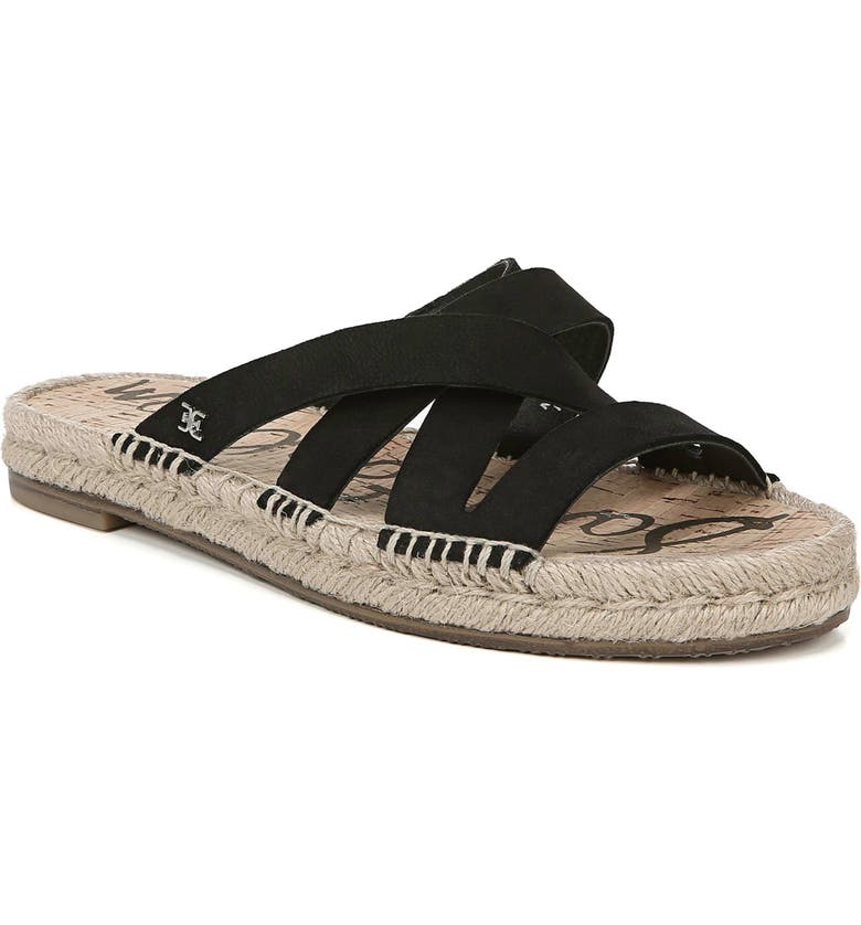 SAM EDELMAN Averie Espadrille Slide Sandal, Main, color, BLACK LEATHER