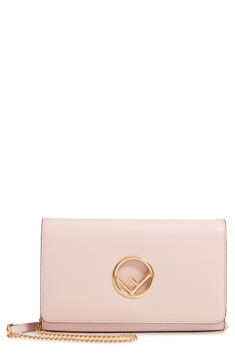 FENDI Liberty Logo Calfskin Leather Wallet on a Chain, Main, color, SOAP/ ORO SOFT