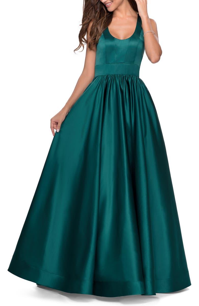 LA FEMME Cross Back Satin Jersey Gown, Main, color, EMERALD