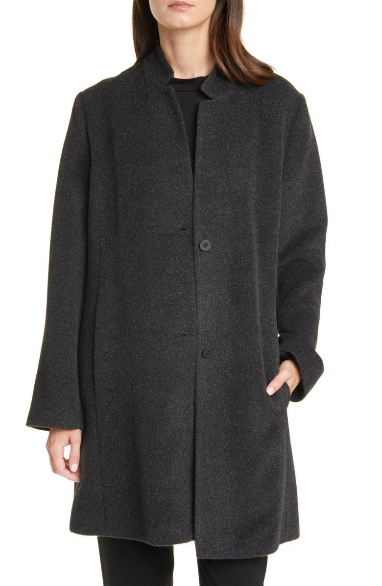 EILEEN FISHER Notch Collar Alpaca & Wool Blend Coat, Main, color, 021