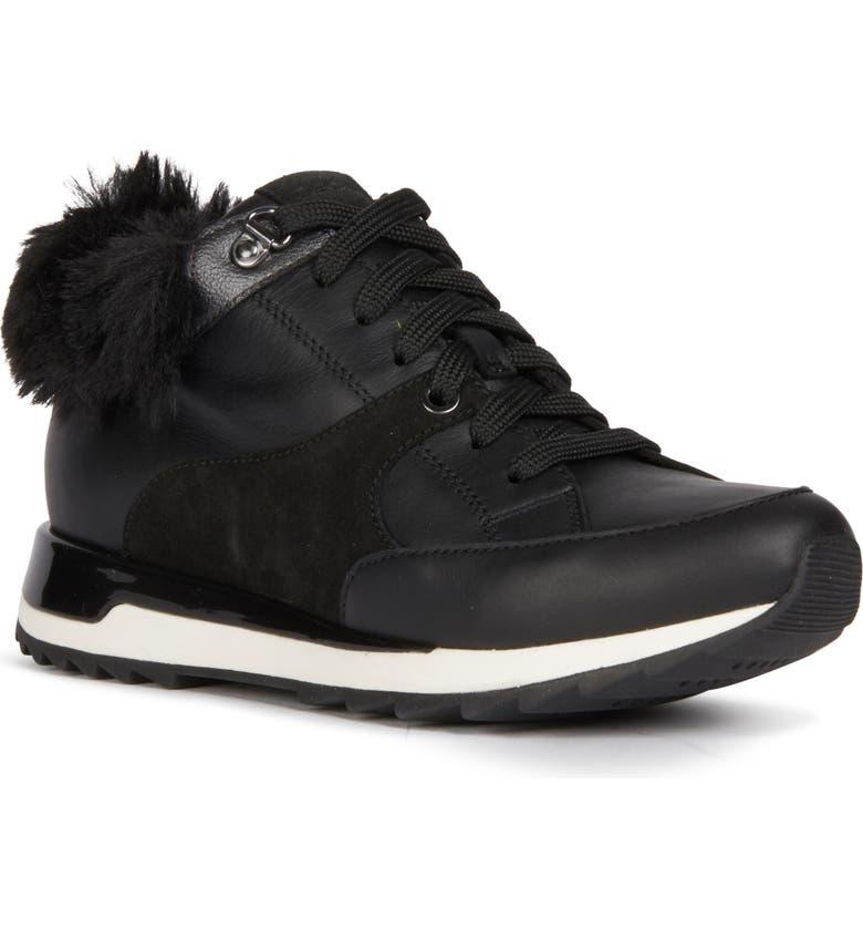 GEOX Aneko Amphibiox Waterproof Faux Fur Trim Sneaker, Main, color, 001