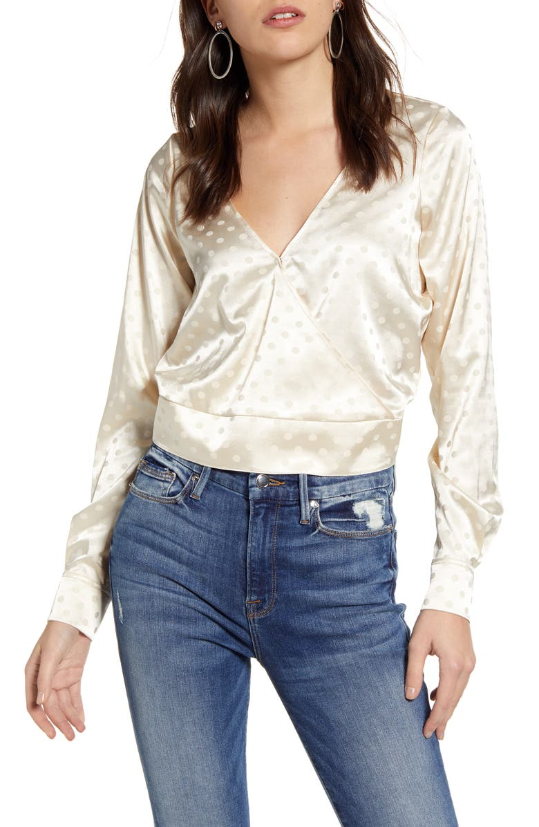 GOOD AMERICAN Jacquard Dot Satin Top, Main, color, IVORY001