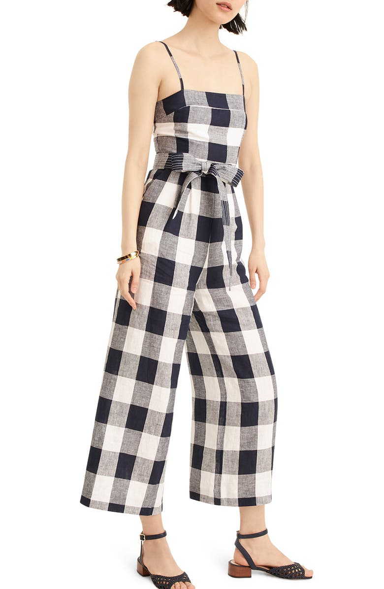 J.CREW Gingham Beauchamps Linen Spaghetti Strap Jumpsuit, Main, color, 401
