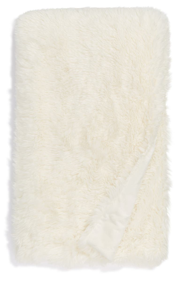 BP. Shaggy Faux Fur Throw Blanket, Main, color, IVORY