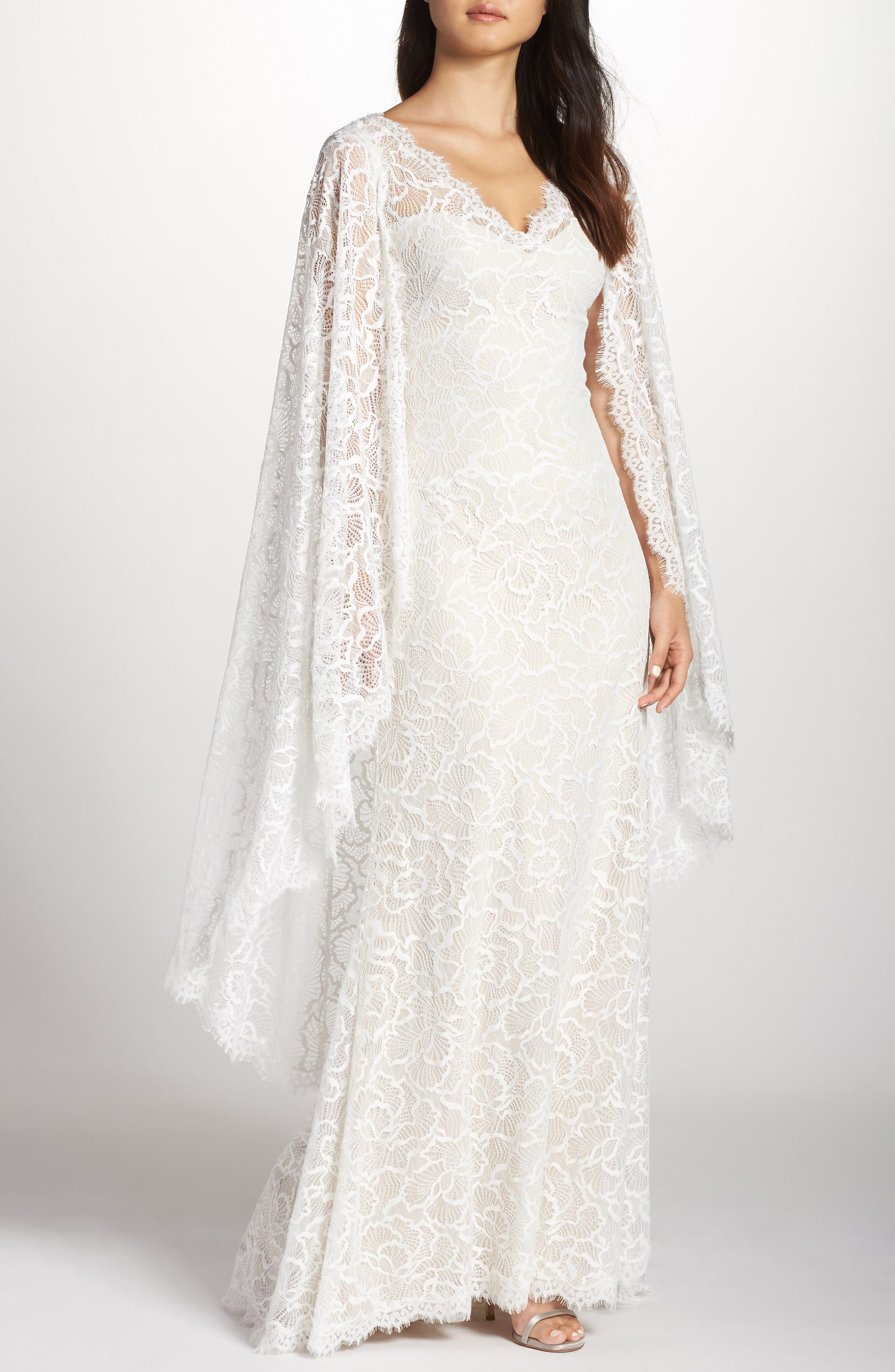 60s Wedding Dresses | 70s Wedding Dresses Womens Tadashi Shoji Cape Detail Lace Gown $928.00 AT vintagedancer.com