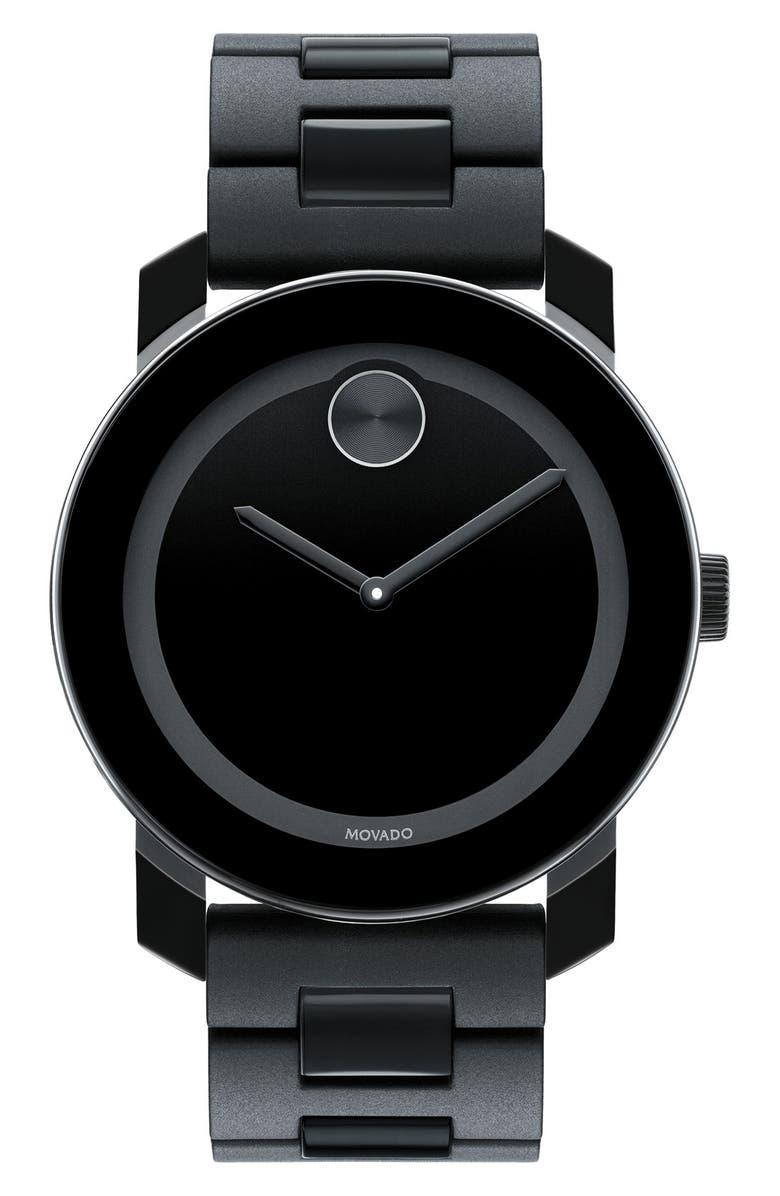 MOVADO 'Large Bold' Bracelet Watch, 42mm, Main, color, 001