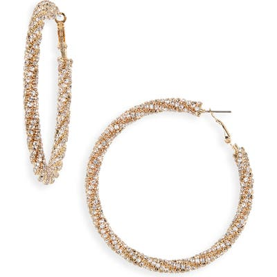 Bp. Pave Twisted Hoop Earrings