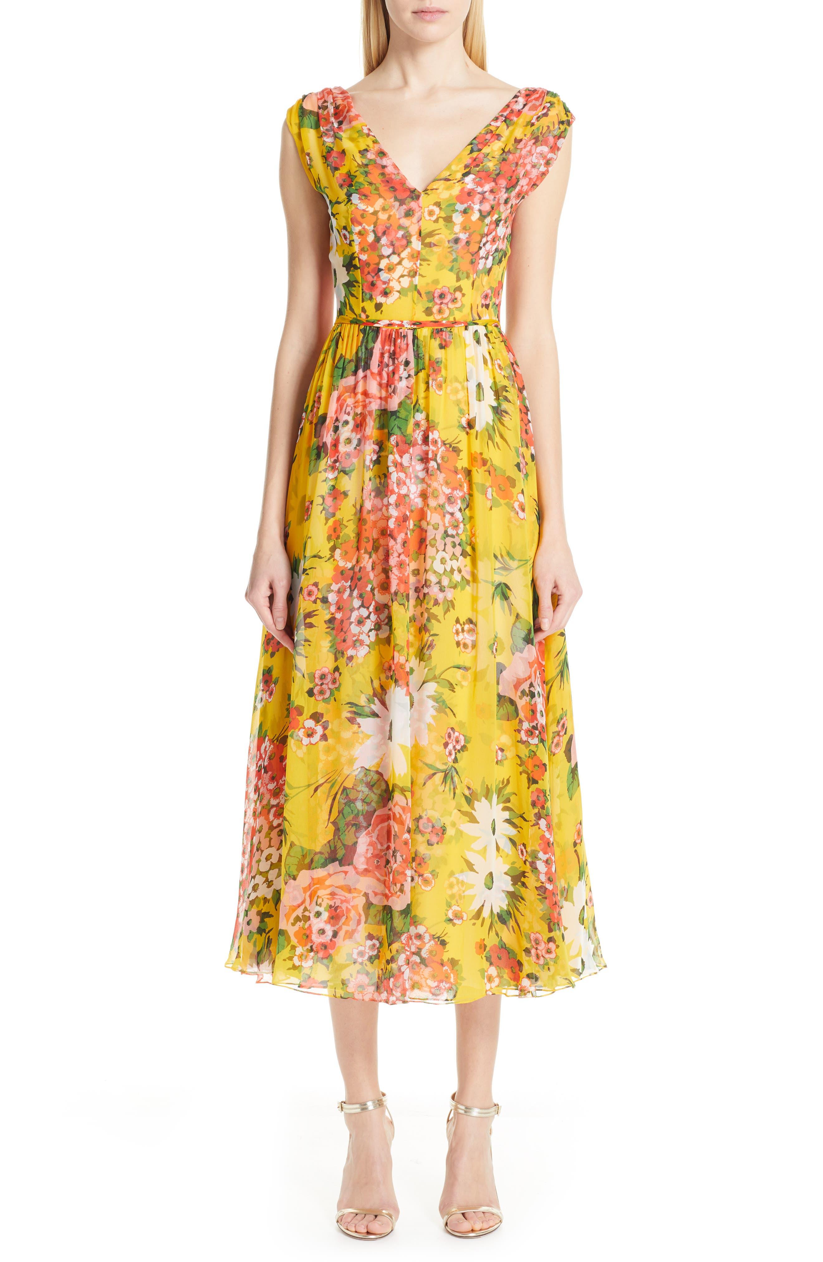Carolina Herrera Floral Off The Shoulder Silk Midi Cocktail Dress, Yellow