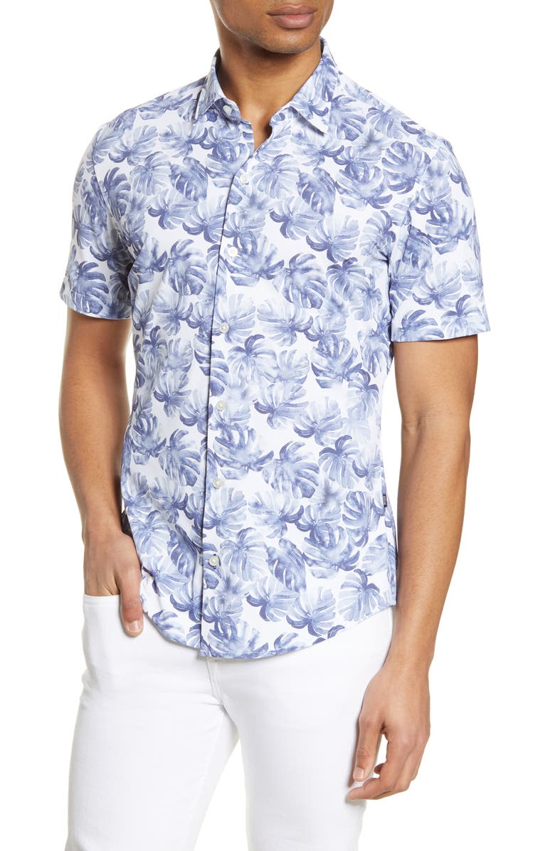 BOSS Robb Slim Fit Palm Print Short Sleeve Button-Up Performance Shirt, Main, color, 402