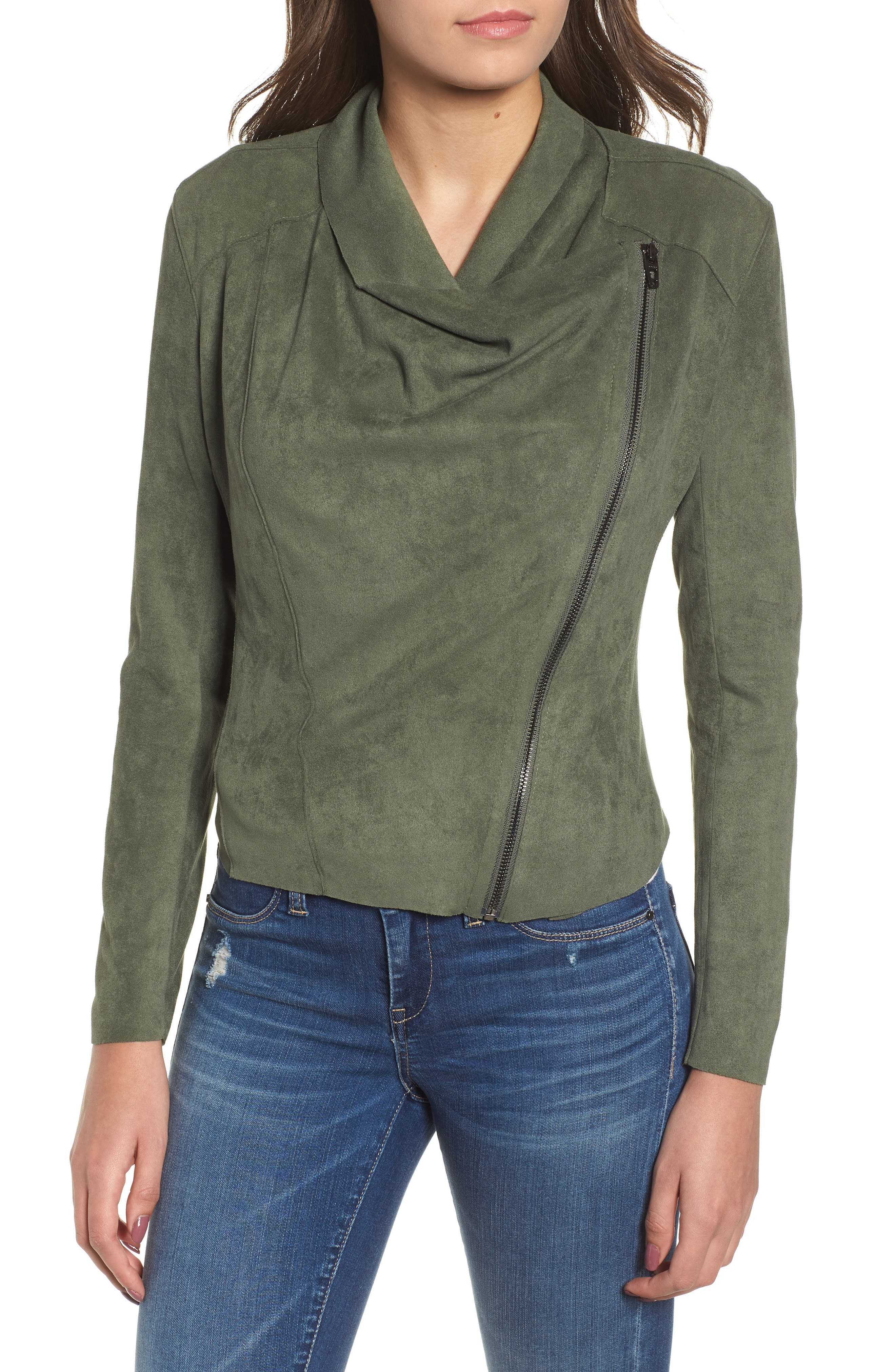 ,                             Drape Front Faux Suede Jacket,                             Alternate thumbnail 5, color,                             OLIVE