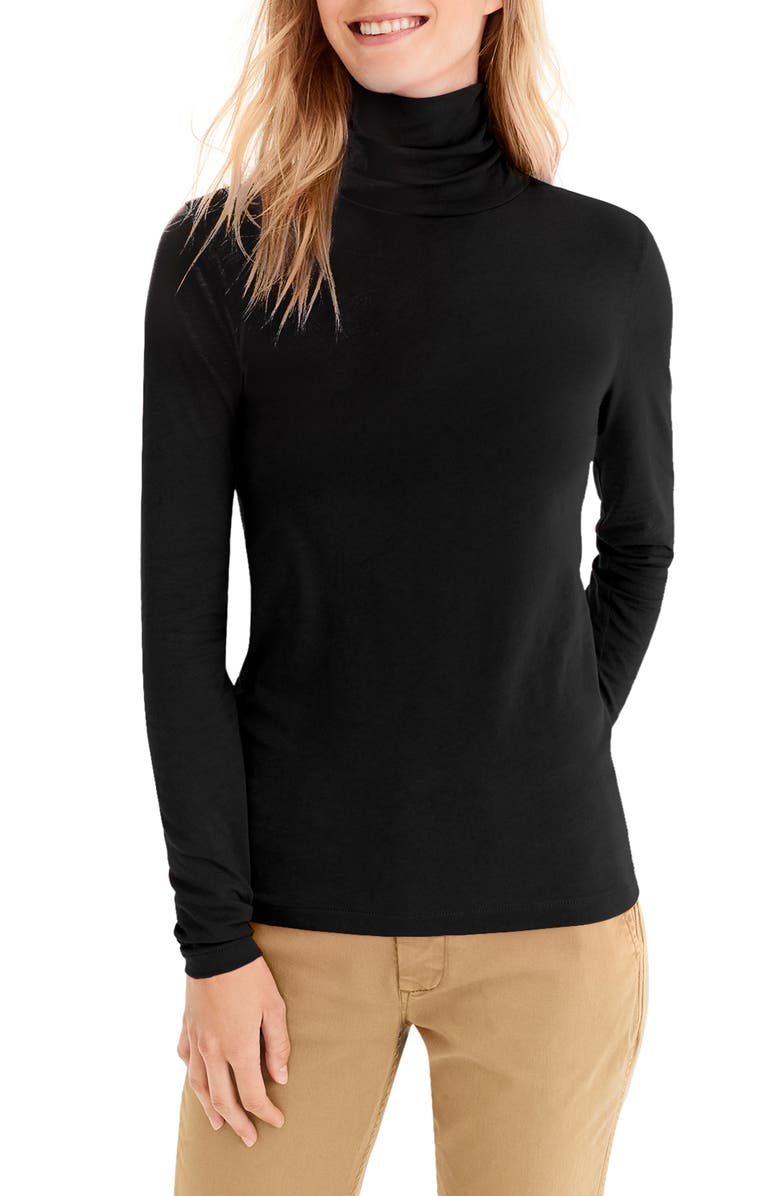 J.CREW Tissue Turtleneck, Main, color, BLACK