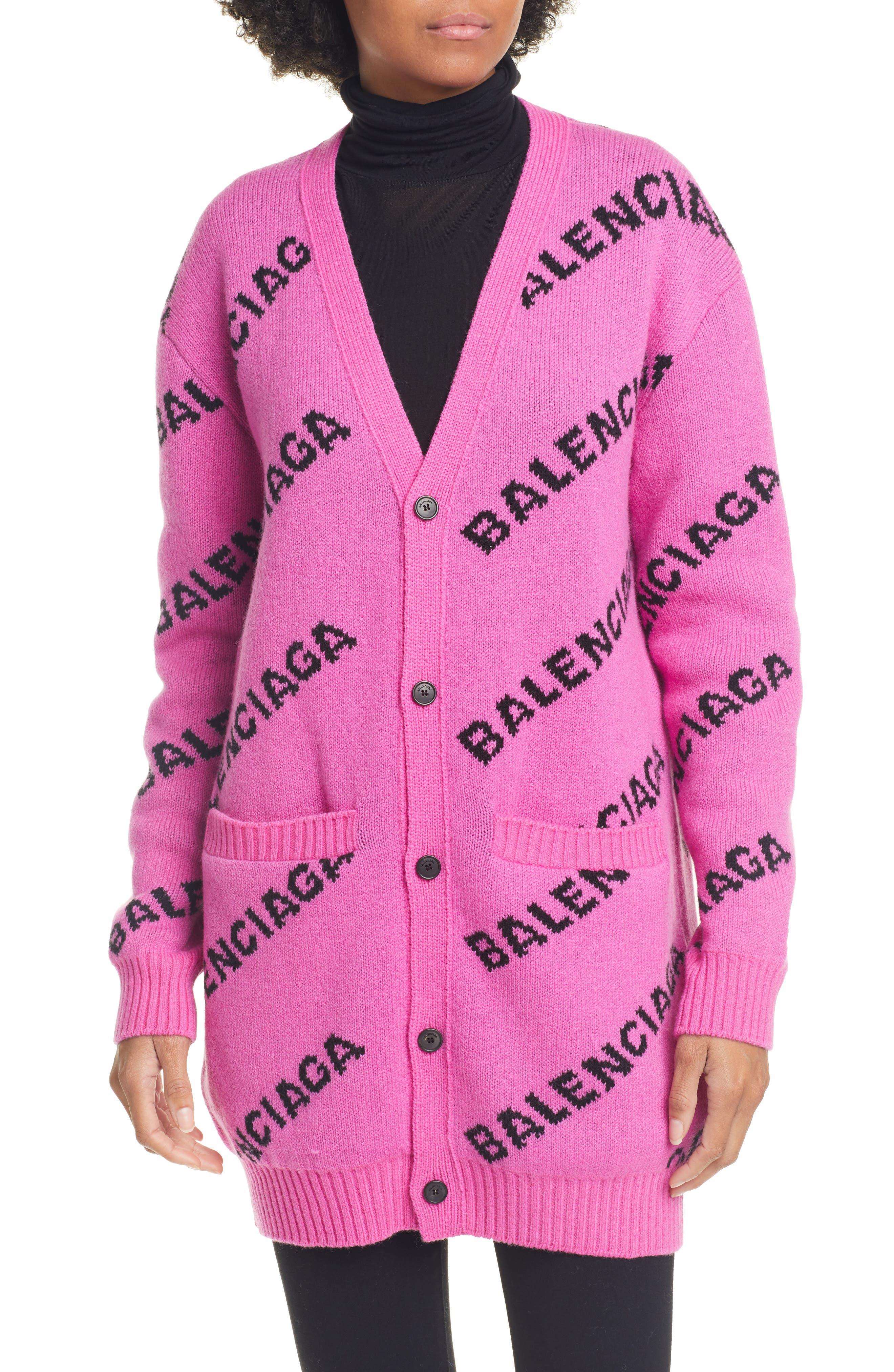 Balenciaga Tops Logo Jacquard Wool Blend Cardigan