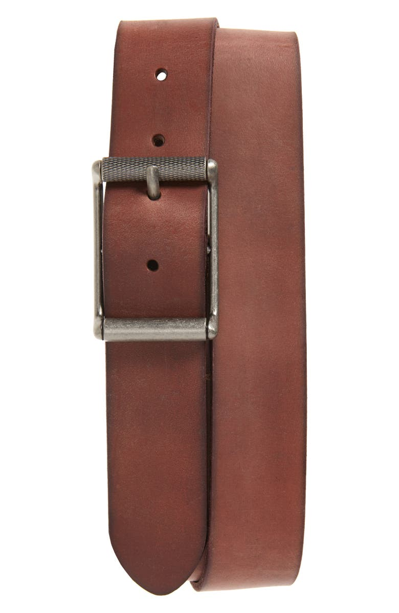 FRYE Roller Buckle Leather Belt, Main, color, TAN