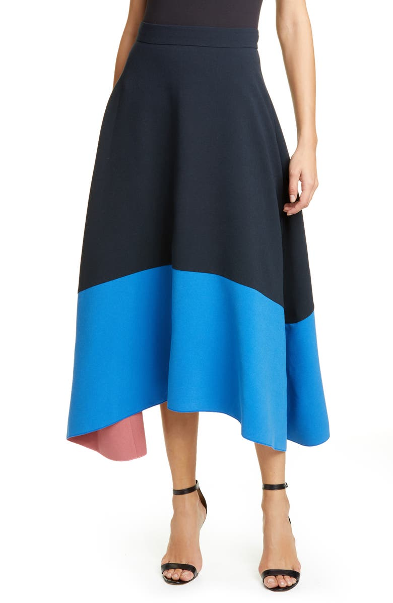 ROKSANDA Contrast Hem Crepe Midi Skirt, Main, color, MIDNIGHT