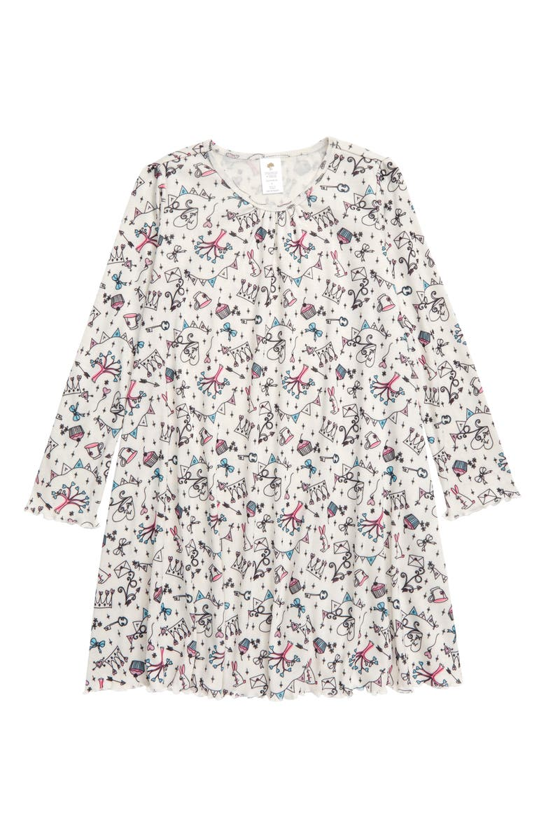 TUCKER + TATE Long Sleeve Nightgown, Main, color, IVORY EGRET DAYDREAM DOODLE