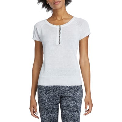 Petite Nic+Zoe Button-Up Knit Tee, White