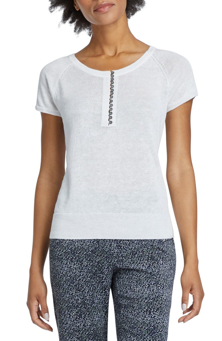 NIC+ZOE Button-Up Knit Tee, Main, color, PAPER WHITE