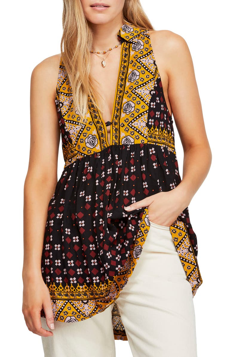 FREE PEOPLE Mixed Print Tunic, Main, color, 001