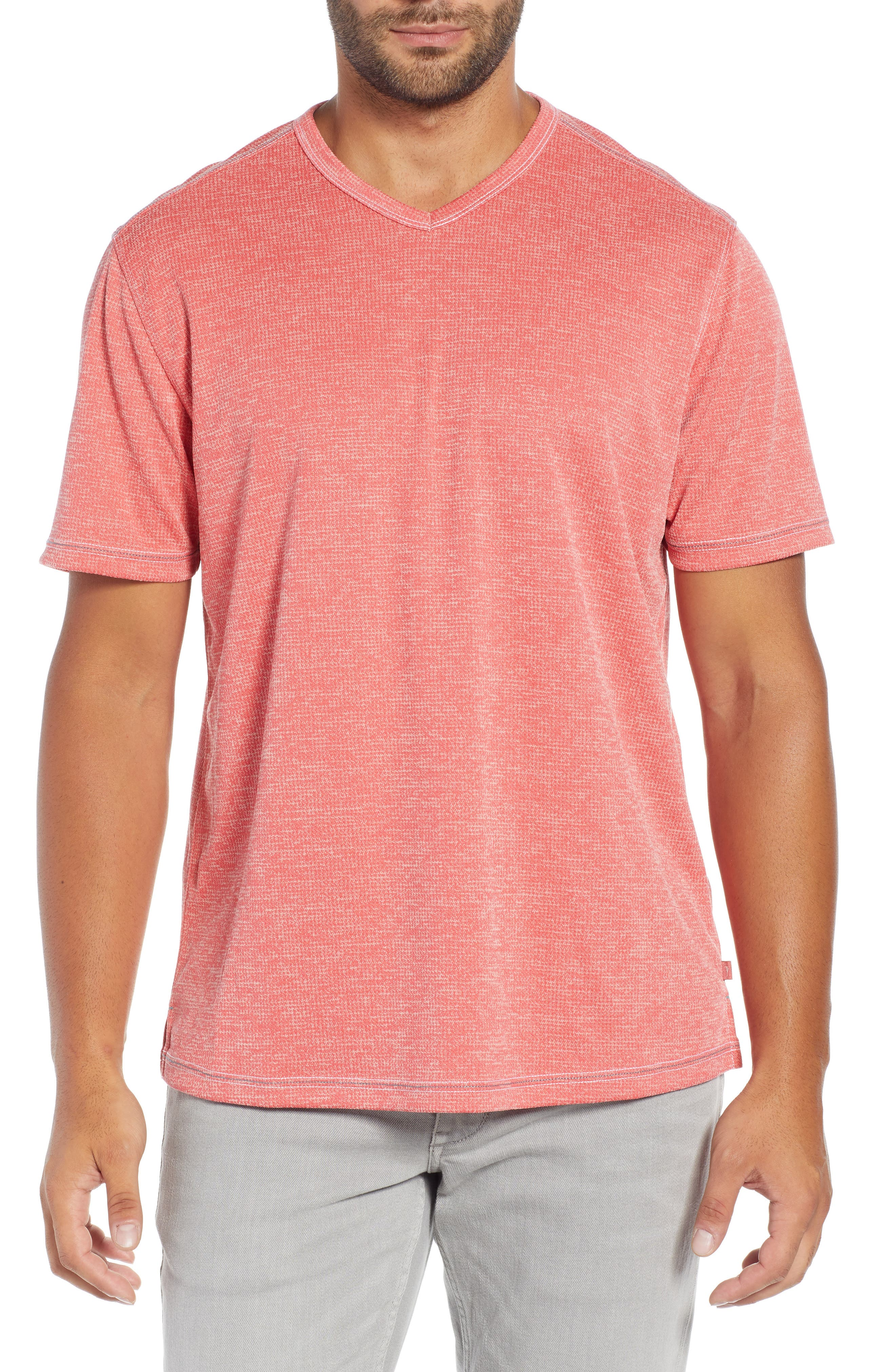Sand Key V-Neck T-Shirt, Main, color, CORAL HAZE