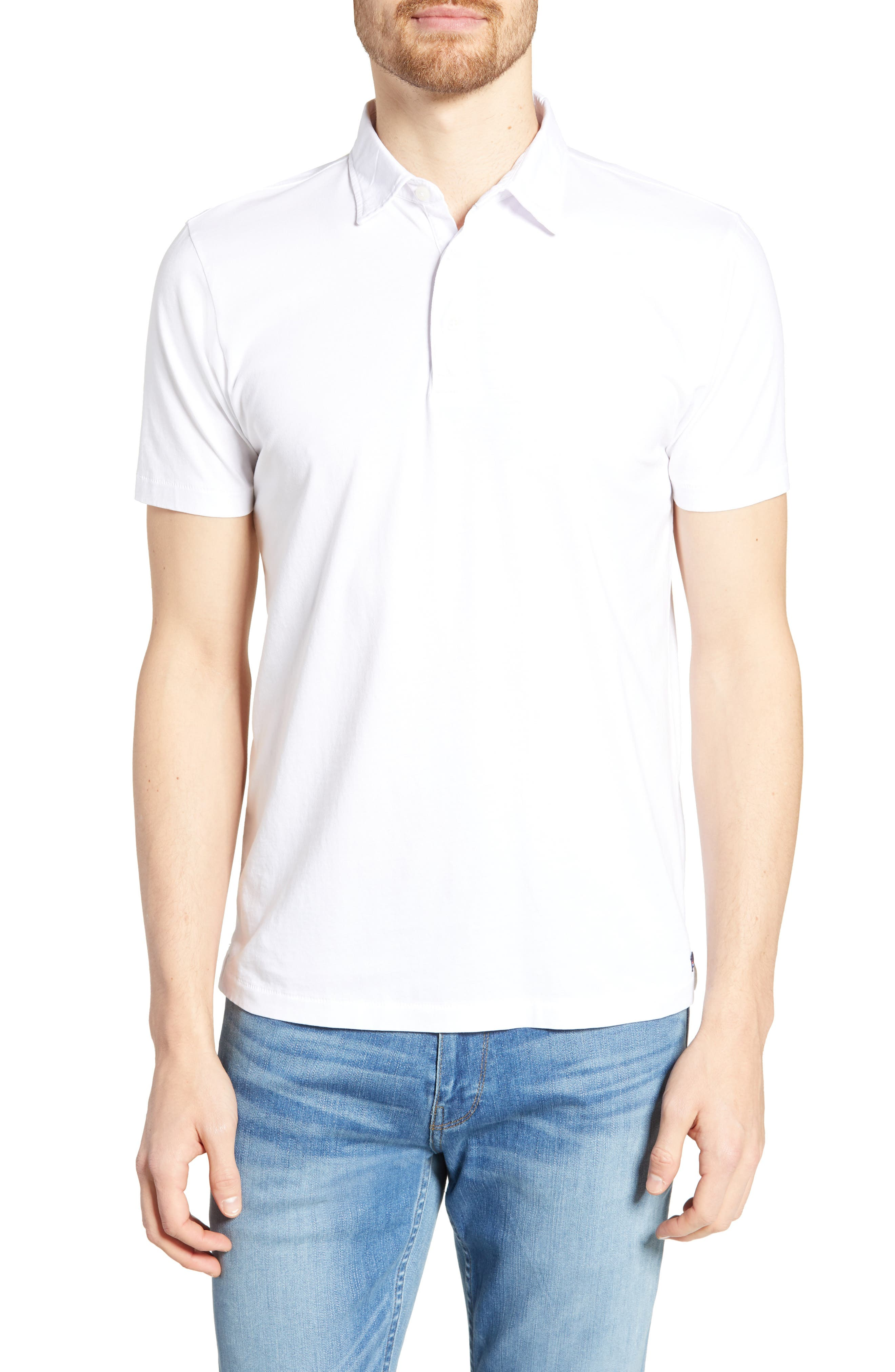 Faherty Regular Fit Solid Polo, White