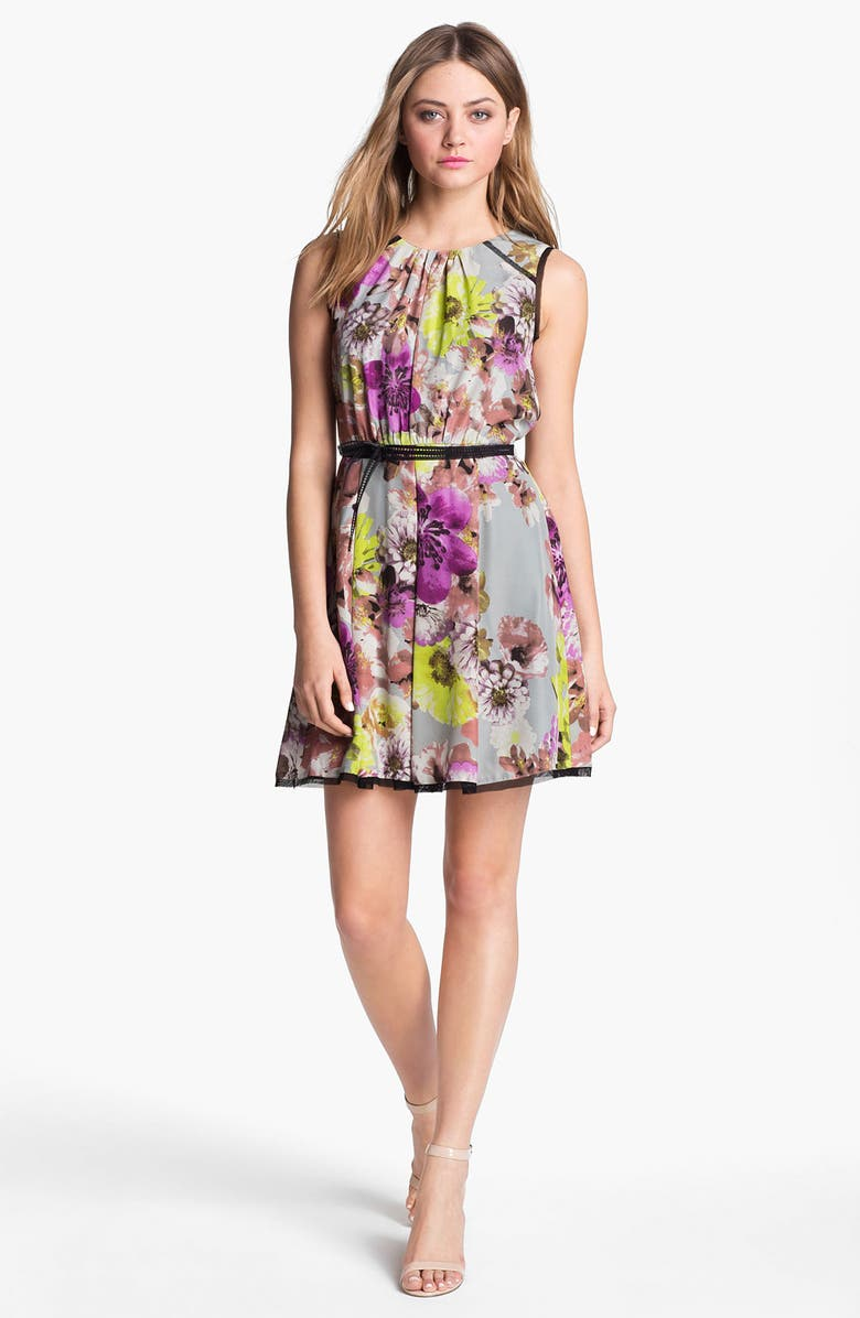 LABEL BY FIVE TWELVE Floral Print Fit & Flare Dress, Main, color, 020