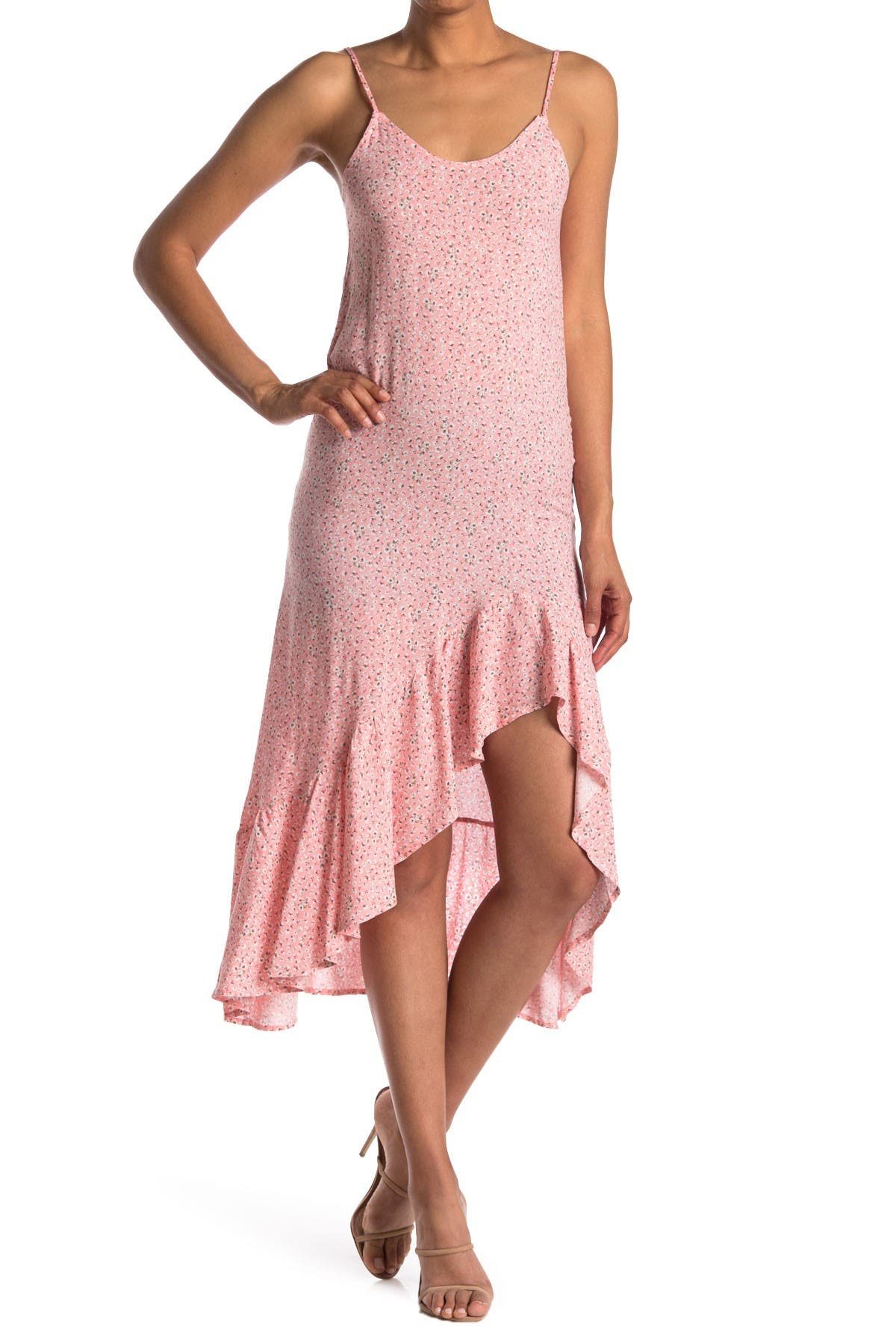 Image of Velvet Torch Ruffled High/Low Slip Dress