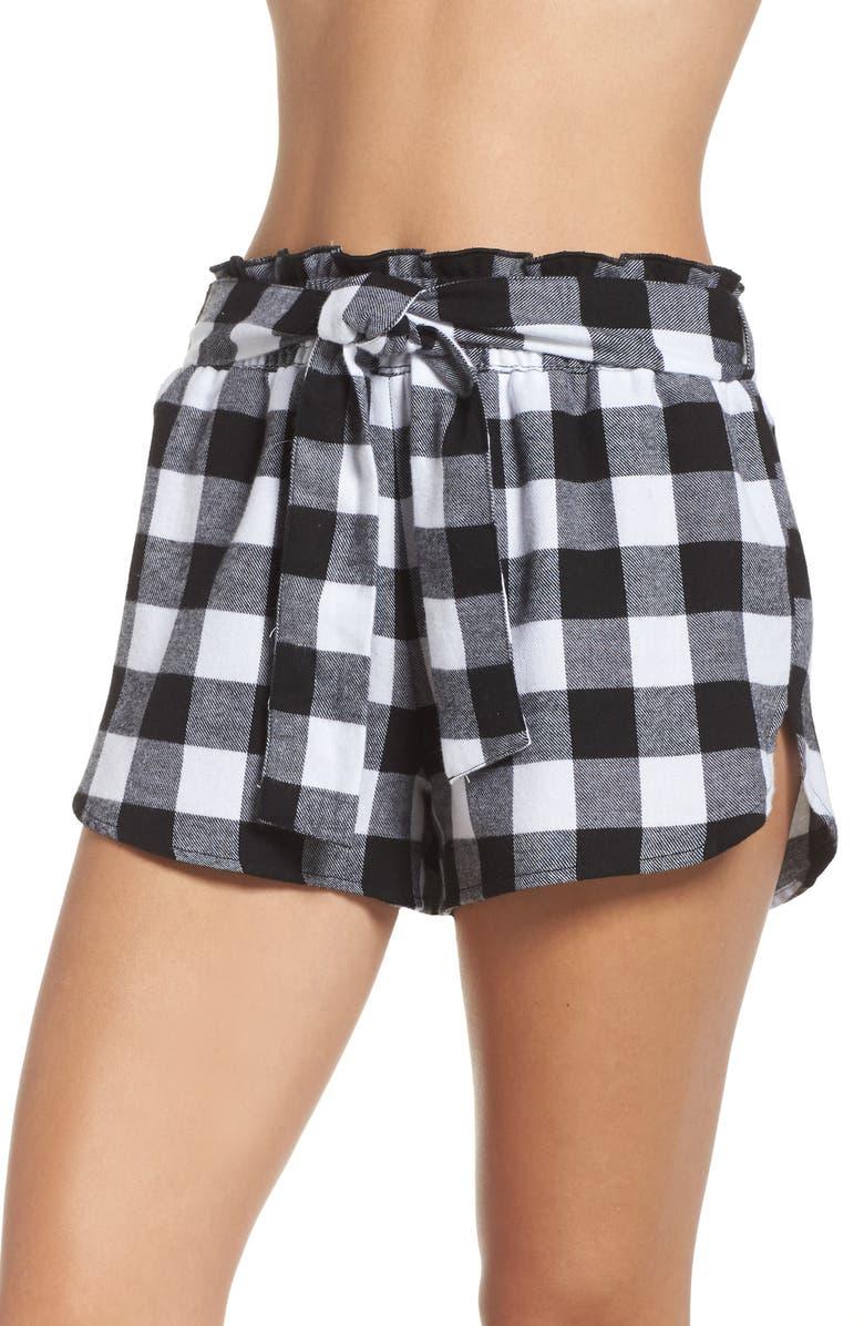 MAKE + MODEL Tie Waist Flannel Shorts, Main, color, 002
