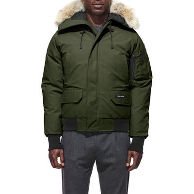 Canada Goose Chilliwack Down Bomber Jacket With Genuine Coyote Fur Trim, Green
