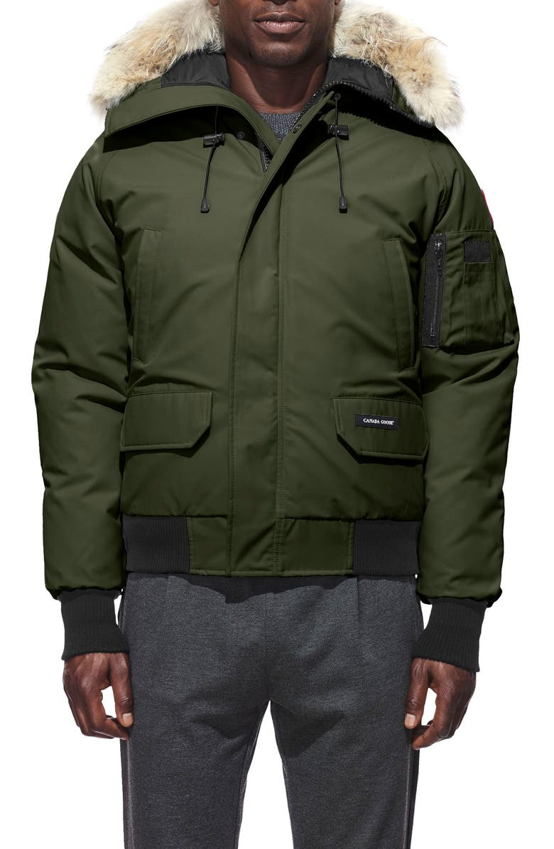 CANADA GOOSE Chilliwack Down Bomber Jacket with Genuine Coyote Fur Trim, Main, color, MILITARY GREEN