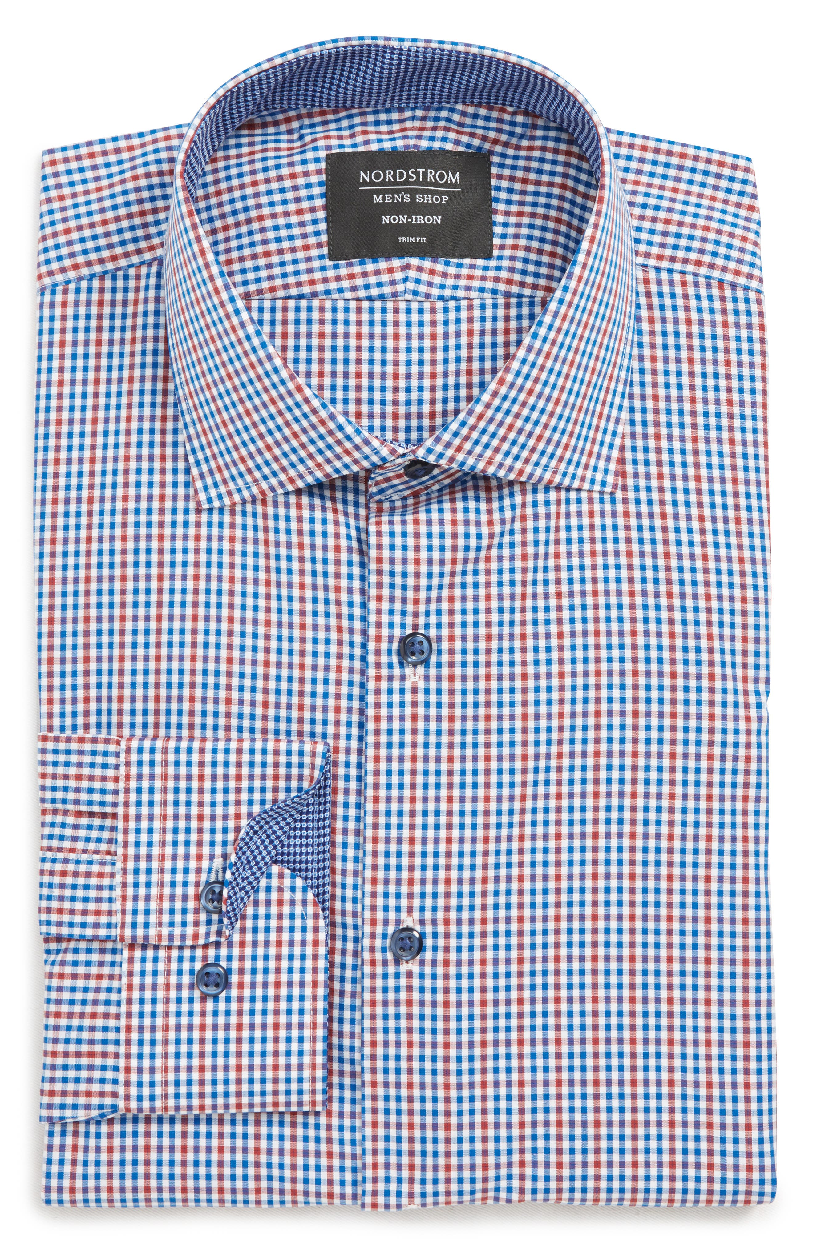 Trim Fit Non-Iron Check Dress Shirt, Main, color, RED RUMBA