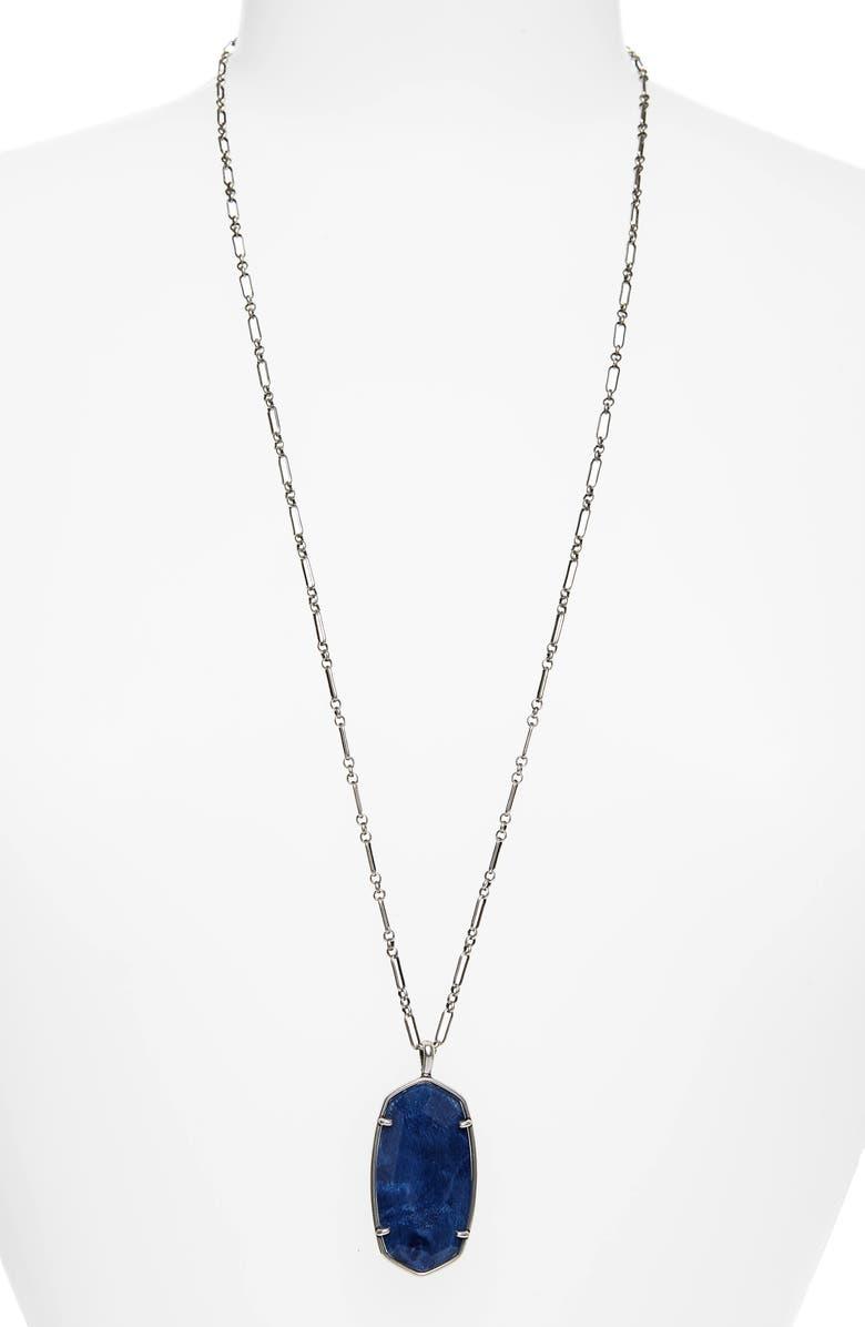 KENDRA SCOTT Reid Long Faceted Pendant Necklace, Main, color, VINTAGE SILVER NAVY ABALONE