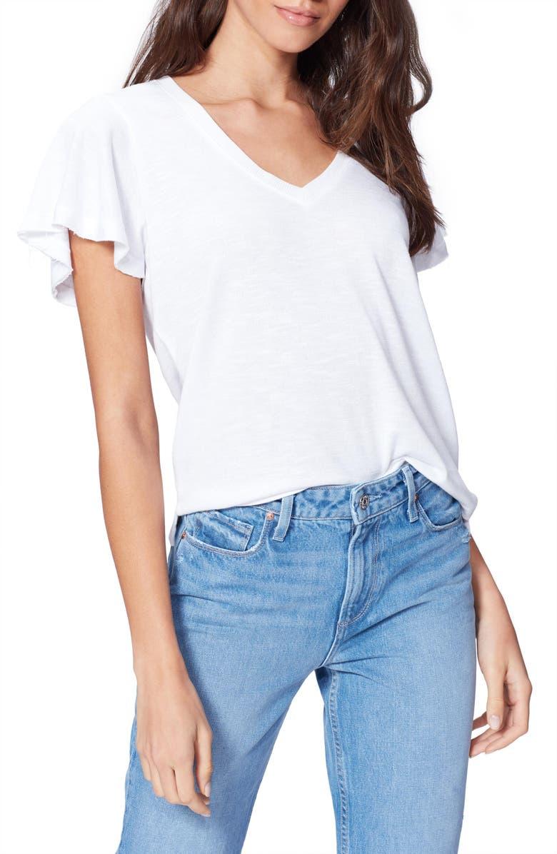 PAIGE Rochel Ruffle Sleeve T-Shirt, Main, color, WHITE