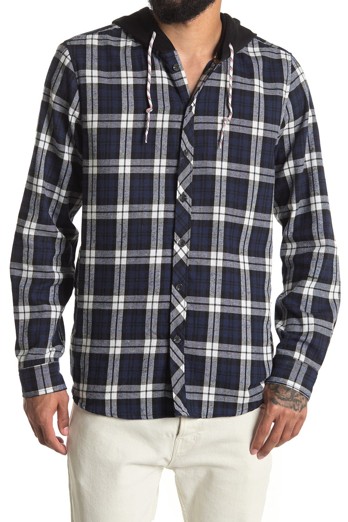 Image of Sovereign Code Hane Hooded Plaid Shirt