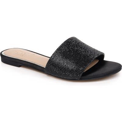 Jewel Badgley Mischka Khaleesi Crystal Slide Sandal, Black
