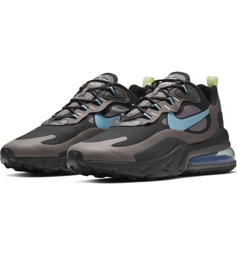 NIKE Air Max 270 React Sneaker, Main, color, BLACK/ GREY/ VOLT/ CERULEAN