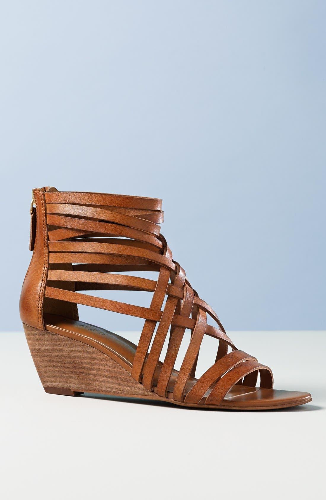 ,                             'Neta' Leather Wedge Sandal,                             Alternate thumbnail 5, color,                             001