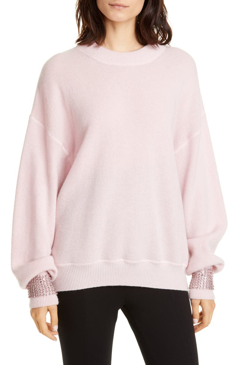 ALEXANDER WANG Crystal Cuff Wool Blend Sweater, Main, color, PINK
