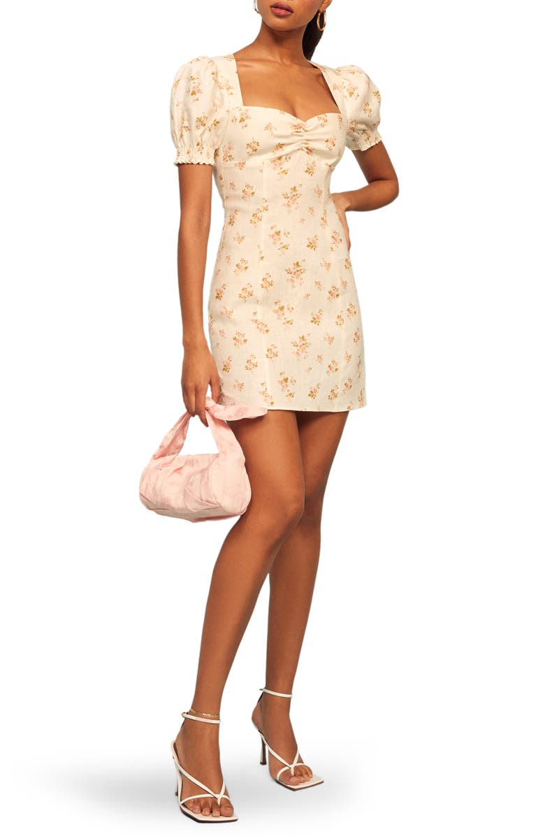 REFORMATION Gina Linen Minidress, Main, color, MILDRED