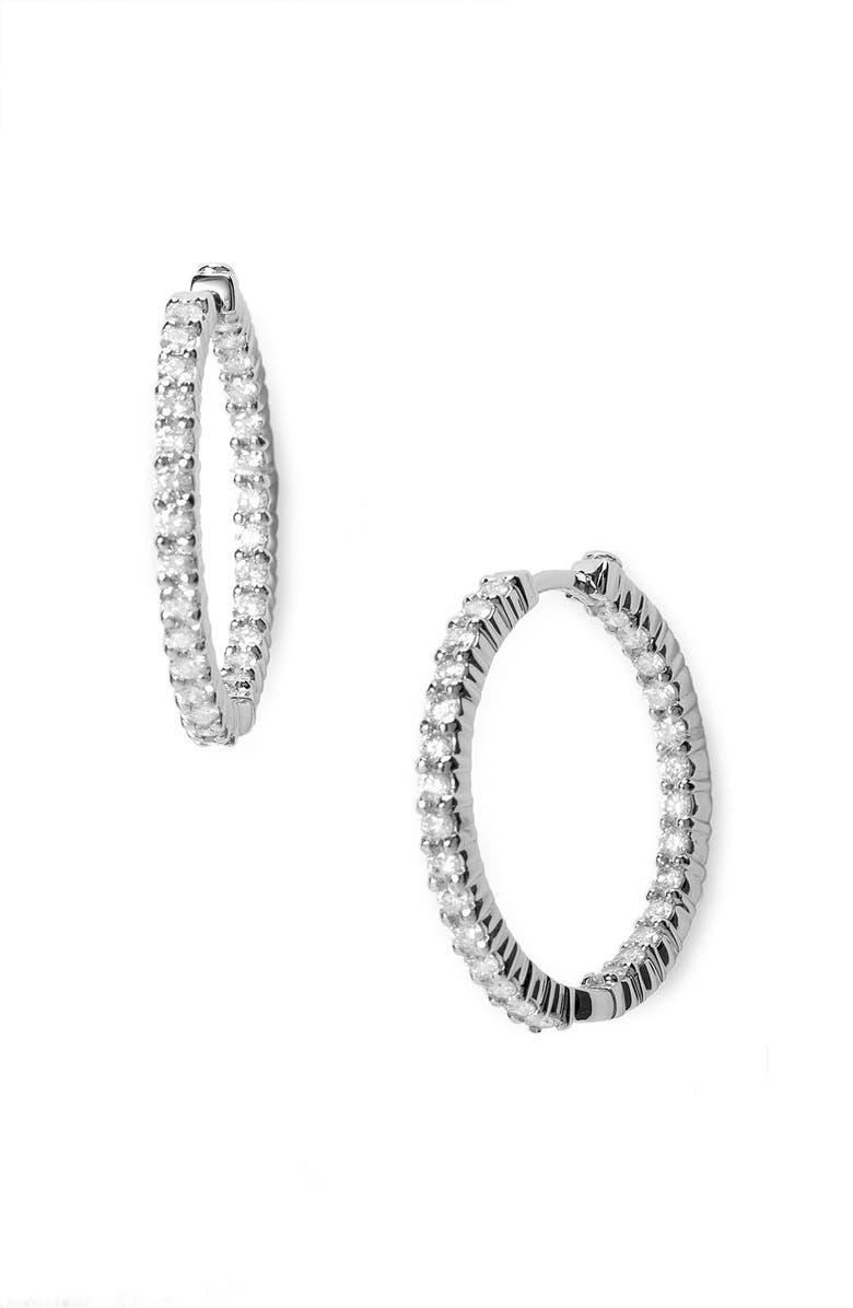 ROBERTO COIN Diamond Hoop Earrings, Main, color, WHITE GOLD