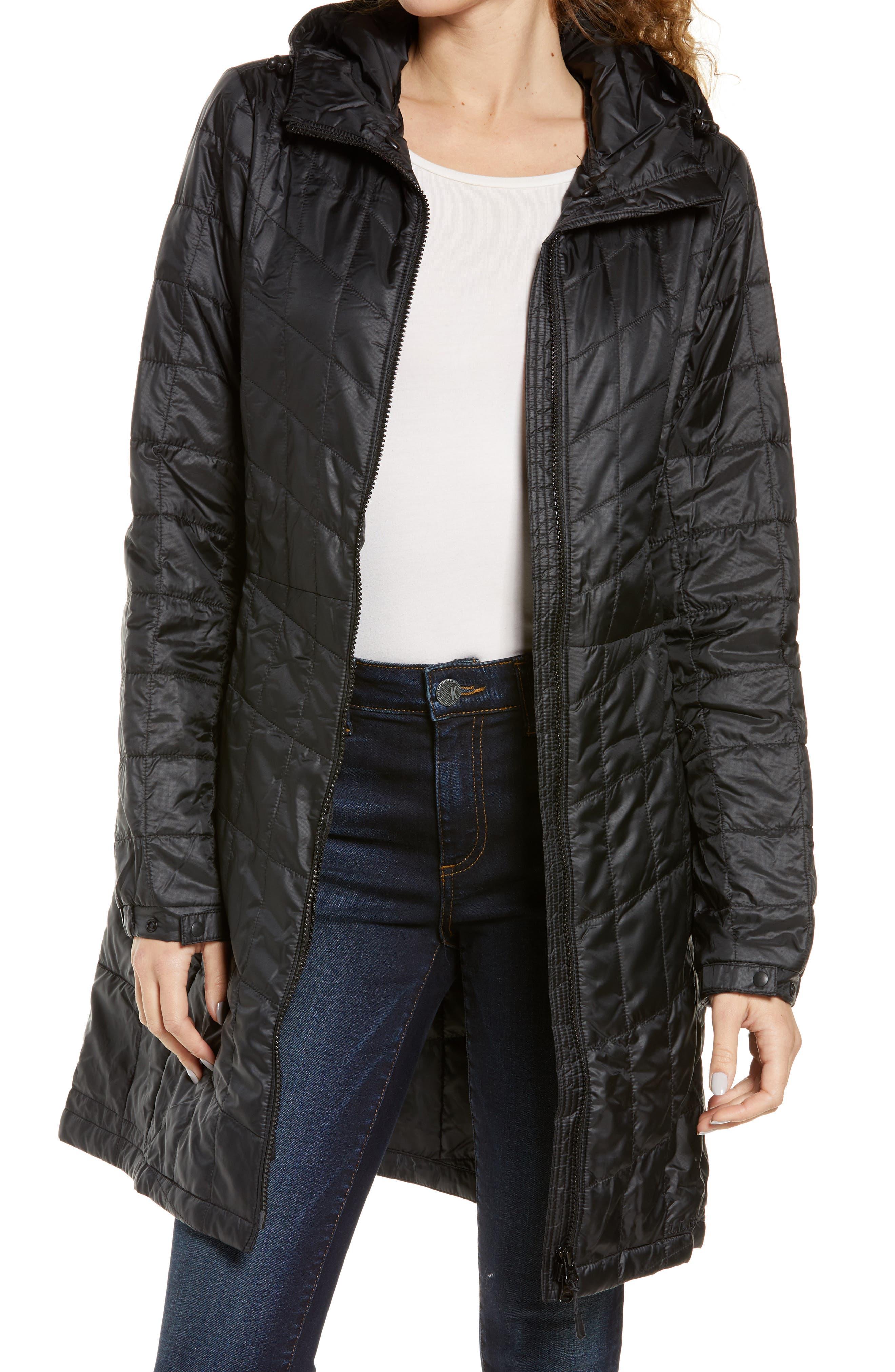 Women's L.l. Bean Packaway Quilted Water Resistant Hooded Coat