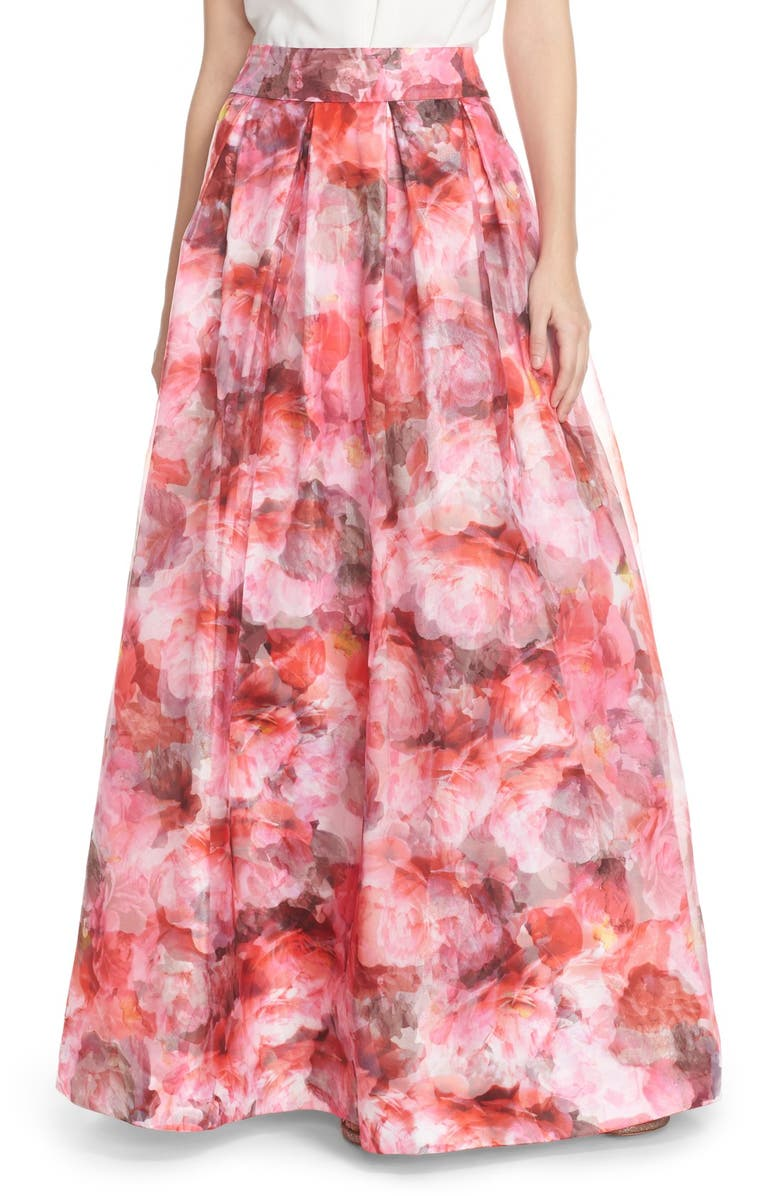 ELIZA J Floral Organza Ball Skirt, Main, color, 660