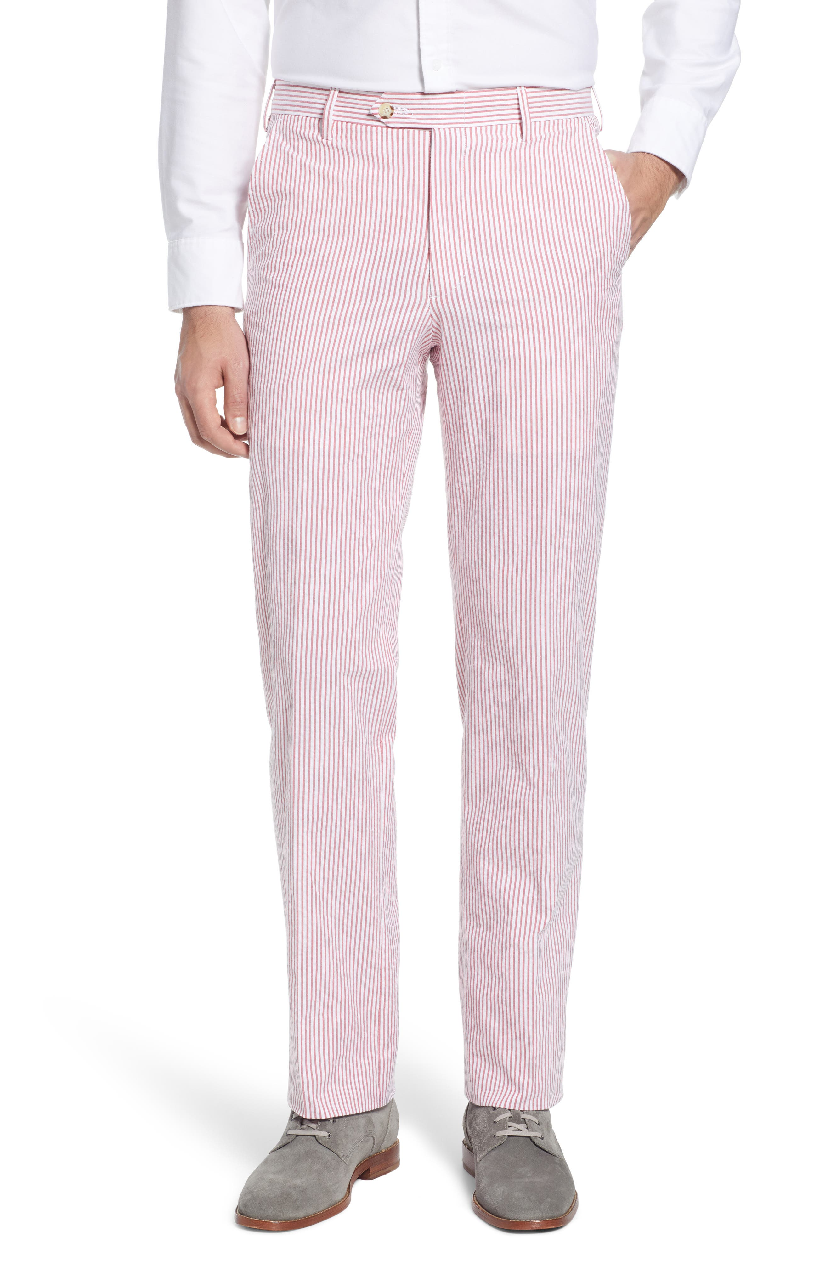 A tailored fit in summer-friendly seersucker puts these classic striped pants in the must-have category. Style Name: Berle Flat Front Seersucker Pants. Style Number: 6033022. Available in stores.