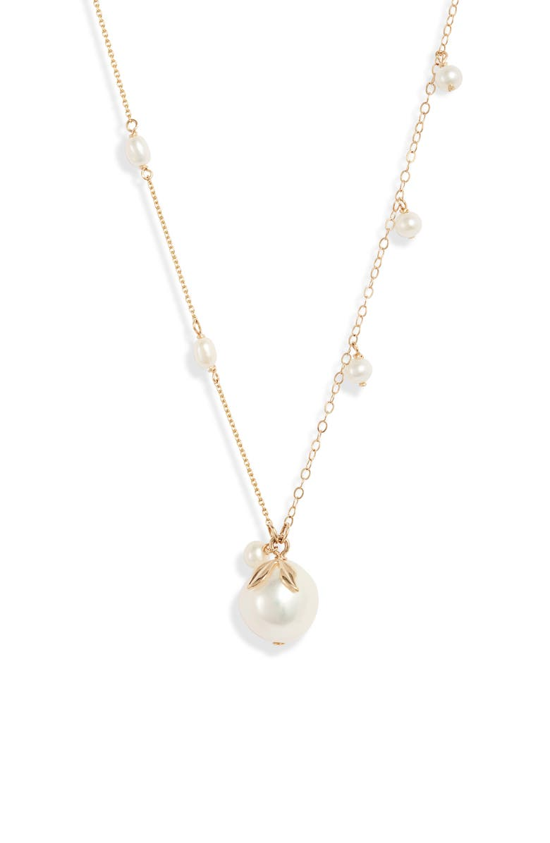 POPPY FINCH Pearl Dangle Baroque Pendant Necklace, Main, color, YELLOW GOLD/ PEARL